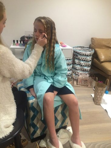 eye makeup being applied by pamper events party organiser
